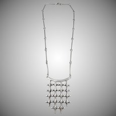 Marianne Berg for David Andersen, Norway 1960s Sterling Silver Large Pendant Necklace.