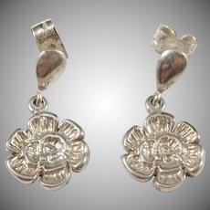 Victor Janson Sweden Vintage 830 Silver Flower Earrings