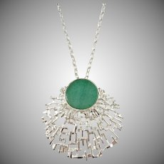Denmark 1960-70s Modernist 830 Silver Jade Pendant Necklace.