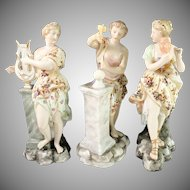 H Greiner, Volkstedt Rudolstadt year 1808-1870 The Muses Series Porcelain Figurines w Provenience