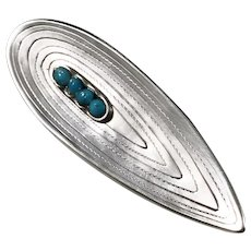 Acke R Tötterman, Sweden year 1953 Mid Century Modern Solid Silver Turquoise Brooch.