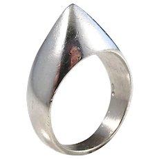 Christian Veilskov, Copenhagen 1960s Modernist Sterling Silver Ring.