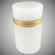 Marked Murano Italy 1920-30s Opaline Glass Gilded Bronze Hinged Box.