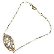 Eastern Mediterranean Mid Century 18k Gold Paste Stone Bracelet