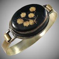 France Mid Century Bronze Reverse Painted Glass Bangle Bracelet.