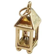 Vintage Novelty 18k Yellow, White and Red Gold Lantern Lamp Charm Pendant. 3.5gram