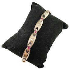 Maker BN Russia year 1908-17 Antique 14k Gold 0.35ctw Diamond Ruby Bracelet. Excellent