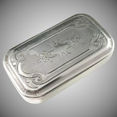 Maker ED, France c year 1870 Victorian Sterling Silver Snuff Box.