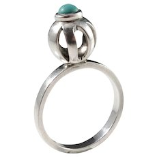 Michelsson, Stockholm year 1966 Sterling Silver Turquoise Ring.