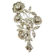 Sweden 1940s Sterling Silver Foiled Back Paste Stone Flower Brooch