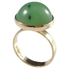 Ateljé Stigbert Sweden 1971 Modernist 18k Gold Jade Ring. Excellent.