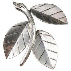 Kaplan, Stockholm year 1961 Sterling Silver Leaf Brooch