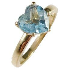 Vintage 18k Gold Heart Shaped Topaz I Love You Ring.