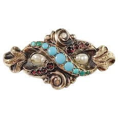 Christian Hammer, Sweden year 1848 early Victorian 18k Gold Garnet Turquoise Pearl Brooch
