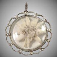 Austria WWII Era 800 Silver Edelweiss Flower Pendant.