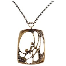 Sten & Laine, Finland 1970s Modernist Bronze Pendant Necklace. The Spider Web Design.