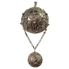 Nils Dahlstrom, Sweden year 1879, Sold Silver Victorian Large Dome Pendant. Excellent.