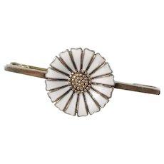 Anton Michelsen, Copenhagen, Mid Century Sterling Silver Enamel Marguerite Daisy Pin Brooch.