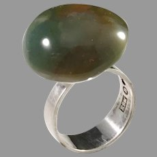 Svedbom, Sweden year 1968 Modernist Sterling Silver Agate Ring.