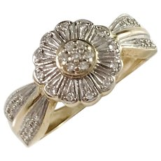 Mid Century 18k Gold Diamond Cluster Pinky Ring.