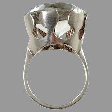 Peter Von Post, Stockholm year 1975 Modernist Sterling Silver Rock Crystal Ring.