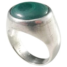 Stockholm 1950s Sterling Silver Malachite Ring.