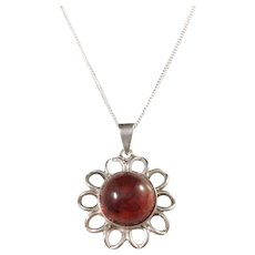 Sweden year 1976 Sterling Silver Amber Pendant with Complimentary new Sterling Chain.