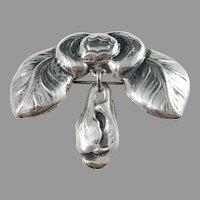 Bernhard Hertz, Denmark year 1918 Art Nouveau Skonvirke 826 Silver Floral Brooch.