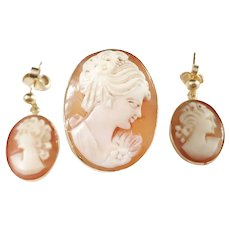 Napoli, Italy 1944-68 Mid Century 18k Gold Cameo Set. Ring and Earrings.