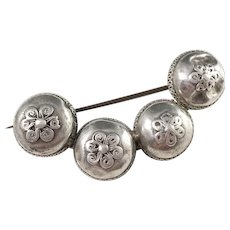 Sweden early 1800s Silver Button Brooch.