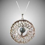 Ostseeschmuck, Germany 1960s 835 Silver Pendant w New Sterling Chain.