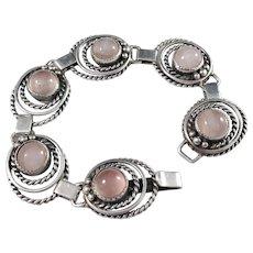 Gussi, Sweden year 1952 MId Century Sterling Silver Rose Quartz Bracelet. Excellent.