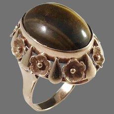Krakow Poland year 1920-63 Bold 14k Gold Tiger Eye Ring.