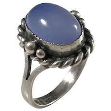 Gussi, Sweden year 1953 Mid Century Sterling Silver Chalcedony Ring.