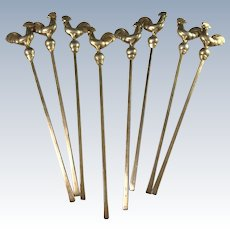 Finland 1930s Solid Gold Washed Silver Rooster Cocktail Sticks.