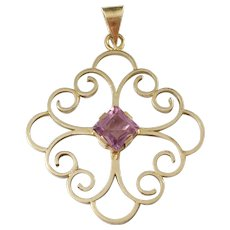 Sporrong, Sweden year 1946, Mid Century Gold Washed Sterling Silver Amethyst Pendant.