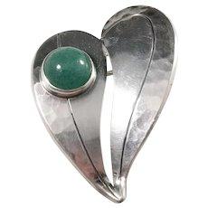 Victor Janson, Sweden year 1969 Sterling Silver Aventurine Heart Love Hand Hammered Brooch.