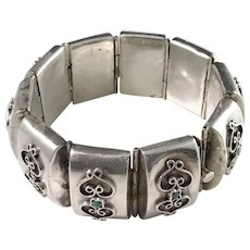 Mexico 1950-70 Chunky Sterling Silver Turquoise Bracelet. Large Eagle Makers Mark. 70gram