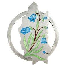 Stockholm, Sweden year 1946 Mid Century Sterling Silver Enamel Bell Flower Brooch
