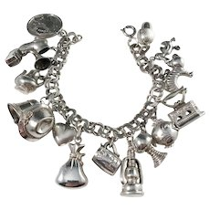 Finland 1971 Sterling Silver Bracelet w 16 Mixed Charms