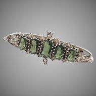 Maker FL, Graz Austria Art Deco Solid Silver Tourmaline Seed Pearl Brooch Pin.