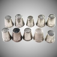 Collection of 10 Swedish, Finnish and German 830-925 Silver Thimbles. Early to mid 1900s