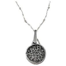 Heribert Engelbert, Stockholm year 1968 Modernist Sterling Silver Pendant Necklace.