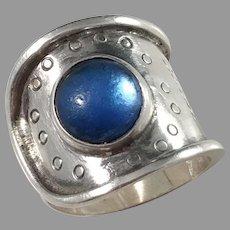 Röijersten & Cederwall, Stockholm 1956 Mid Century Sterling Silver Foiled Back Paste Stone Ring.