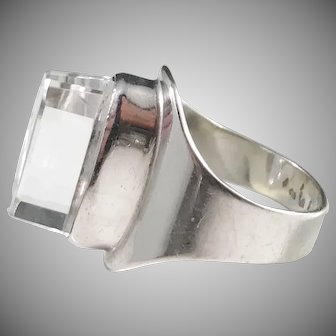 Germany 1960s Modernist 835 Silver Acrylic Bold Ring.