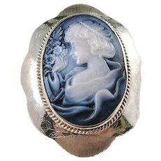 "Huge Vintage Sterling Silver Agate Cameo Brooch Pendant. 3.9"""