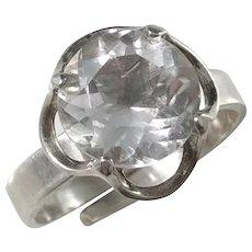 Bengt Hallberg Sweden year 1979, Sterling Silver Rock Crystal Ring.