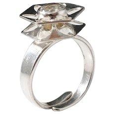 Alton, Sweden year 1978, Modernist Sterling Silver Rock Crystal Ring