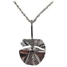 Jane Wiberg, for Jane & Finn, Denmark 1970s Massive Sterling Silver Modernist Pendant Necklace.