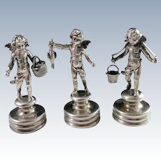 Germany c 1890 Antique 800 Silver Dinner Table Decoration Putti Figurines